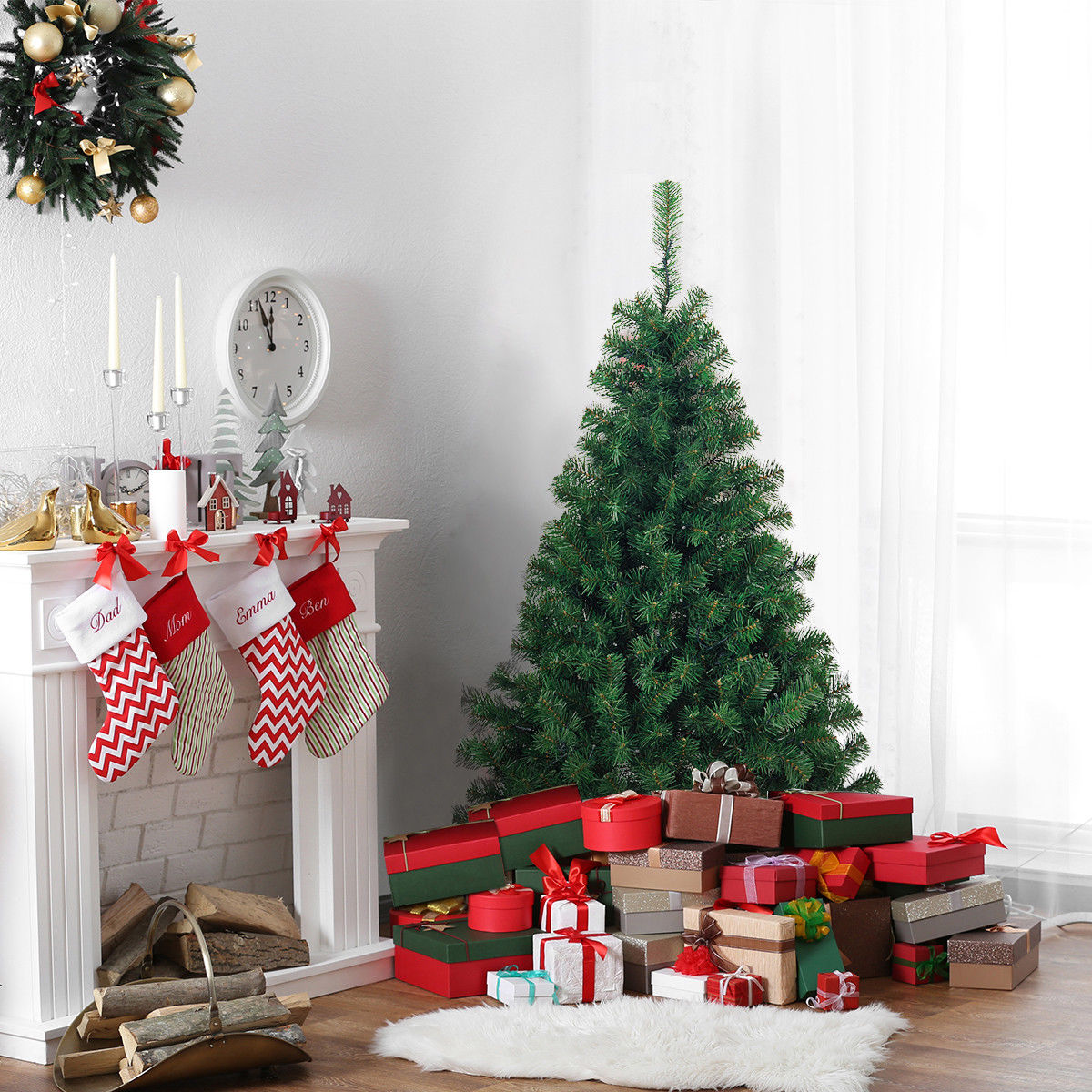 Costway 4.5Ft PVC Pre-lit Artificial Christmas Tree Hinged w/200 LED Light & Metal Stand