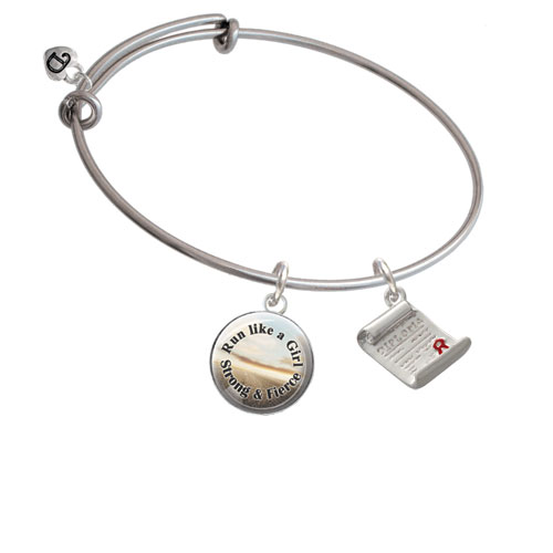 Diploma Run Like A Girl Bangle Bracelet