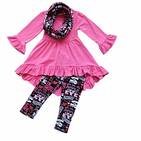9bb2e3c9c Unique Baby Girls Valentine's Day Outfit Ruffle Top Legging Set (3T/S, Pink)