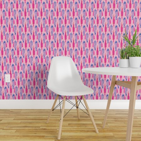 Removable Water Activated Wallpaper Ikat Watercolor Pink Graphic