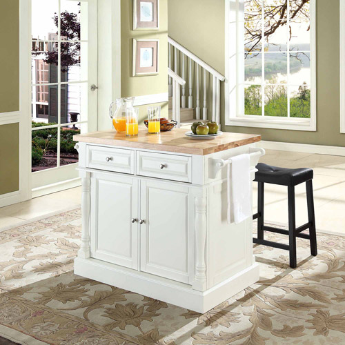 Crosley Furniture Butcher Block Top Kitchen Island with Upholstered Saddle Stools, Multiple Finishes