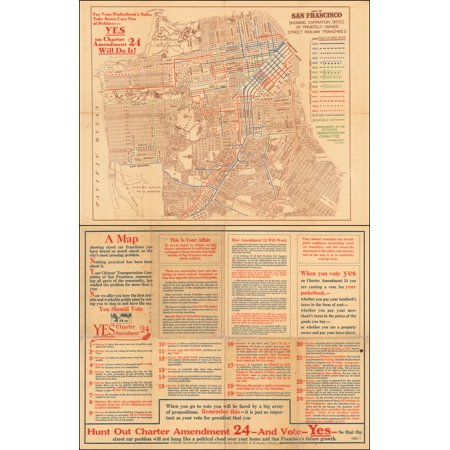 LAMINATED POSTER Map of San Francisco Showing Expiration Dates of Privately Owned Street Railway Franchises POSTER PRINT 24 x 36