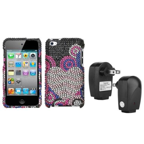 Insten Bubble Hearts Diamante Case For iPod Touch 4 + USB Travel Adapter Charger