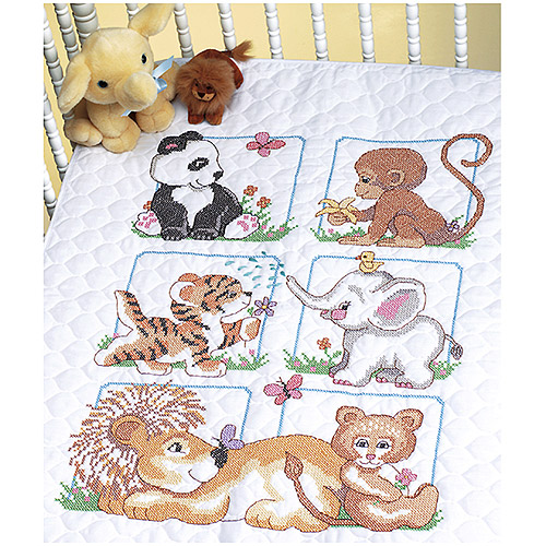 "Animal Babies Quilt Stamped Cross-Stitch Kit, 34"" x 43"""