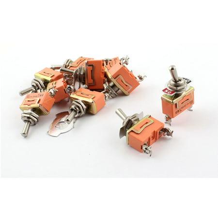 10 x AC 250V 15A 12mm Thread SPST 2 Screw Terminals Toggle Switch Orange - image 1 de 1