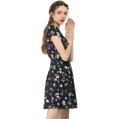 Women鈥榮 Fruit Print Sweetheart Neckline Cap Sleeves Dress Dark Blue L - image 5 de 6