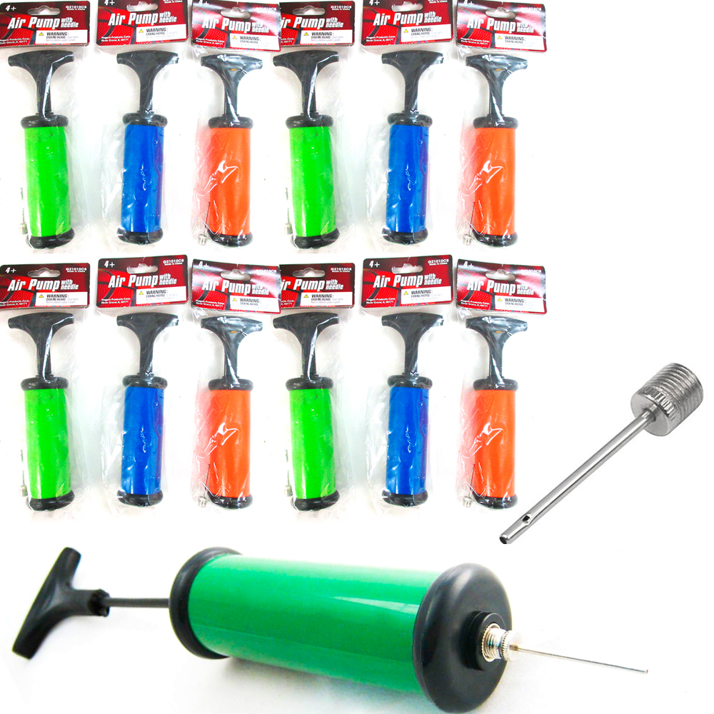 12 Hand Air Pump with Needle Footbal Basketball Ball Balloons Sports Soccer New by Regent Products