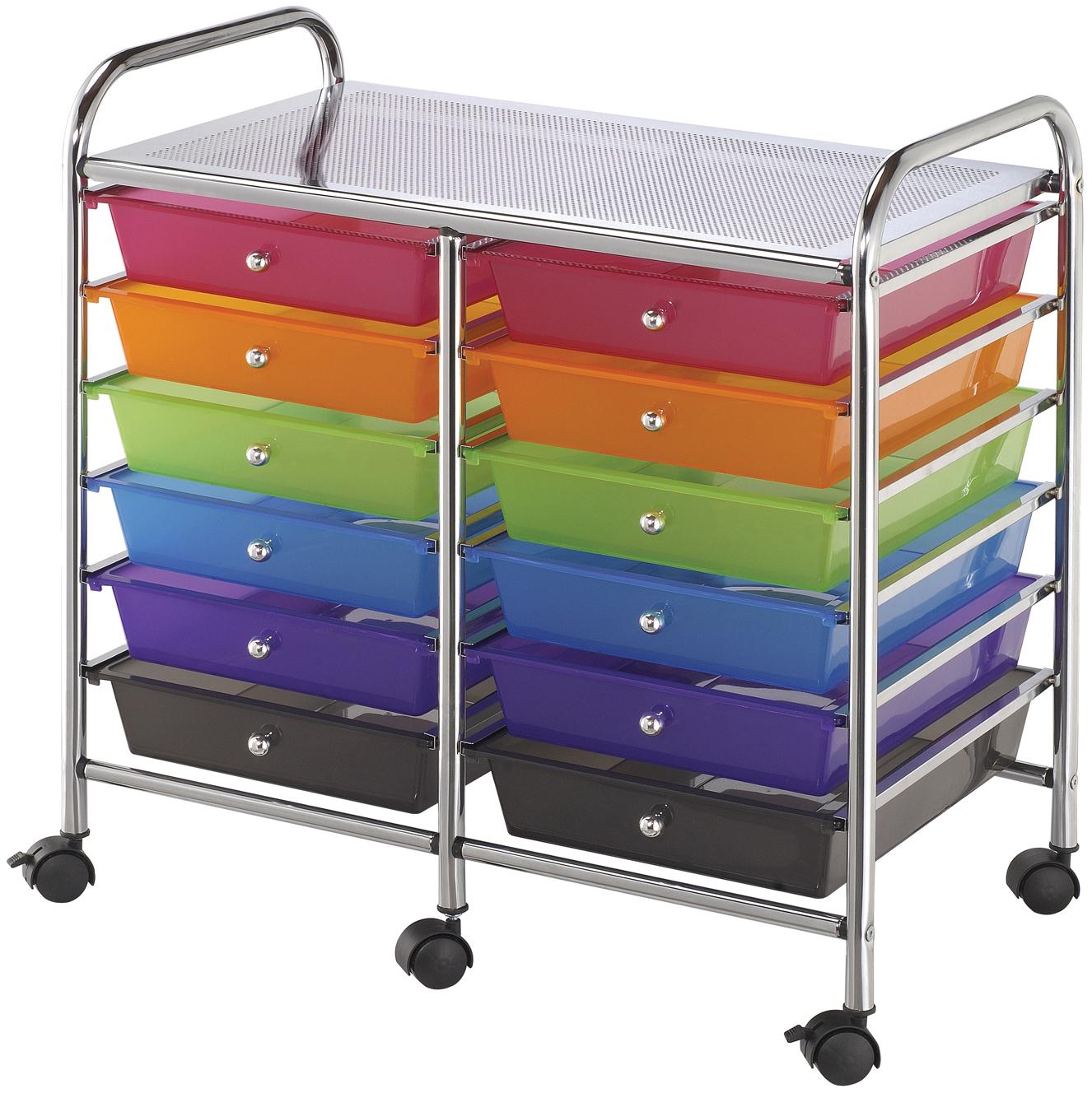 Alvin Storage Cart 12-Drawer (Standard) Multi-Colored