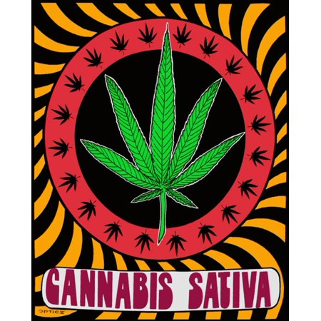 Cannabis Sativa Pot Leaf   Cloth Fabric Poster 24 X 29In     By Opticz Ship From Us