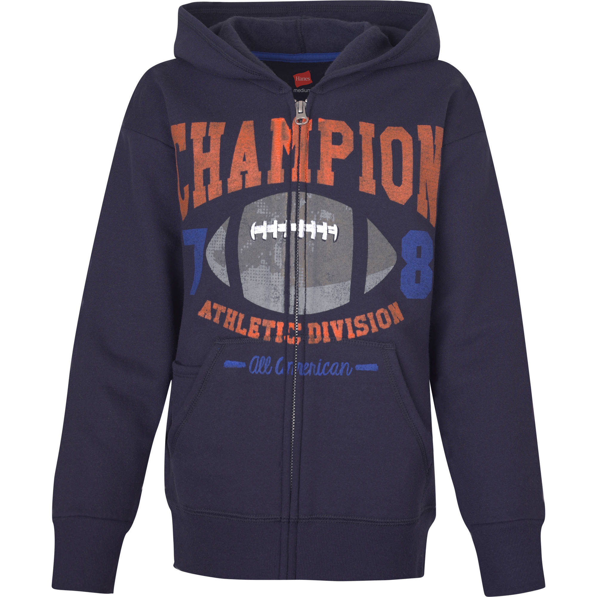 Hanes Boys' Printed Zip Hood with Media Pocket