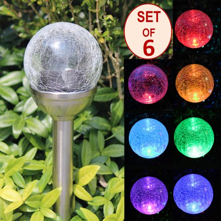Solascape Crackle Glass Globe Color Changing Led And White Led Solar Path Lights  Set Of 6  Silver