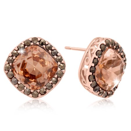 Cushion Cut Pink Crystal and Marcasite Stud Earrings, Rose Gold Over - Rose Pink Crystal Earrings