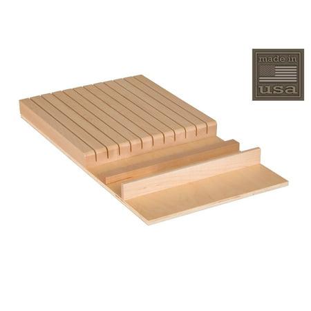 Century Components KB12PF Wood Knife Block Tray Drawer Organizer, 12