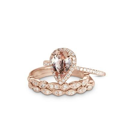 1.50 Carat Pear Cut Morganite and Diamond Trio Wedding Ring Set in Rose Gold (Rough Diamond Wedding Ring)
