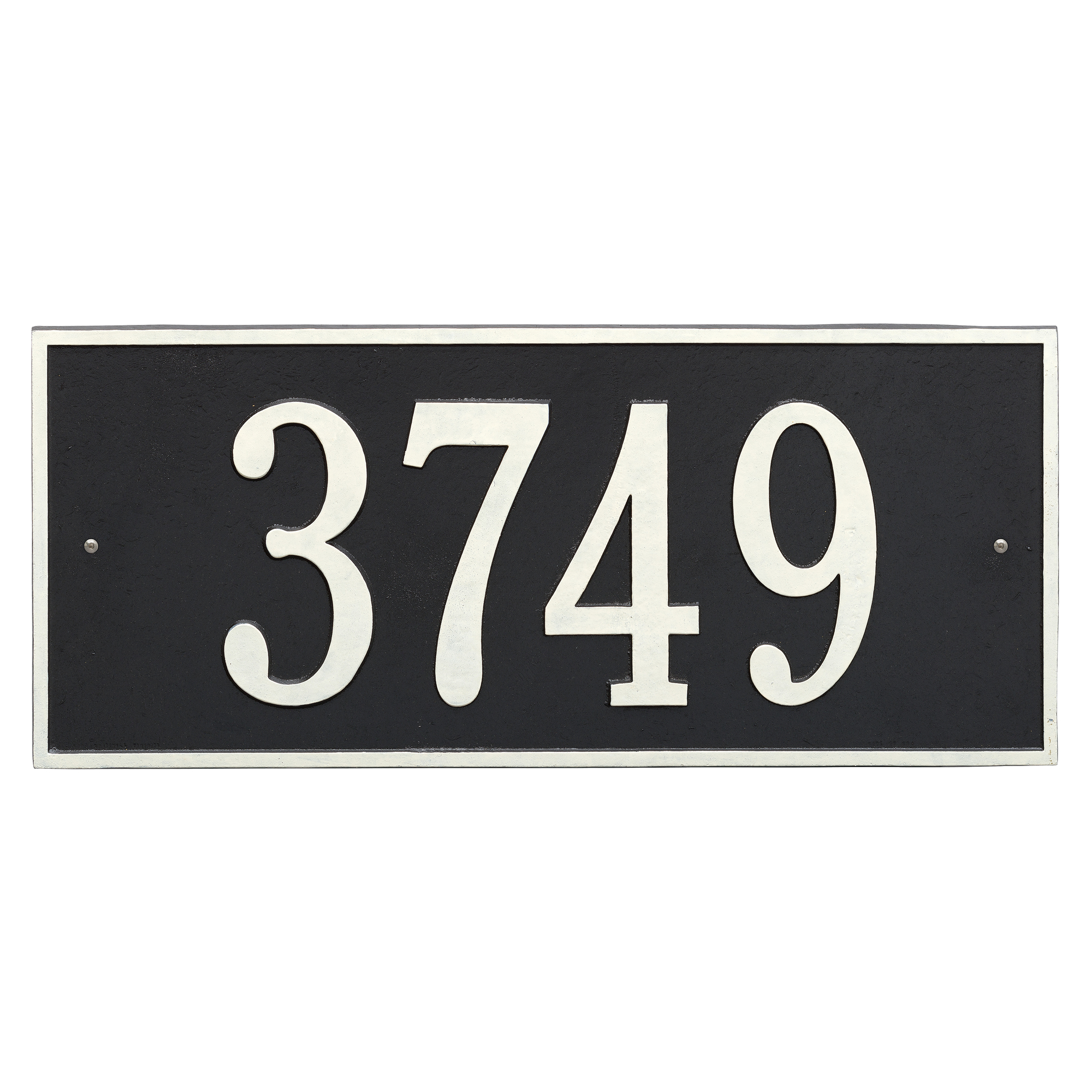 Personalized Hartford Rectangular Estate Wall 1-Line Address Plaque in Black & White