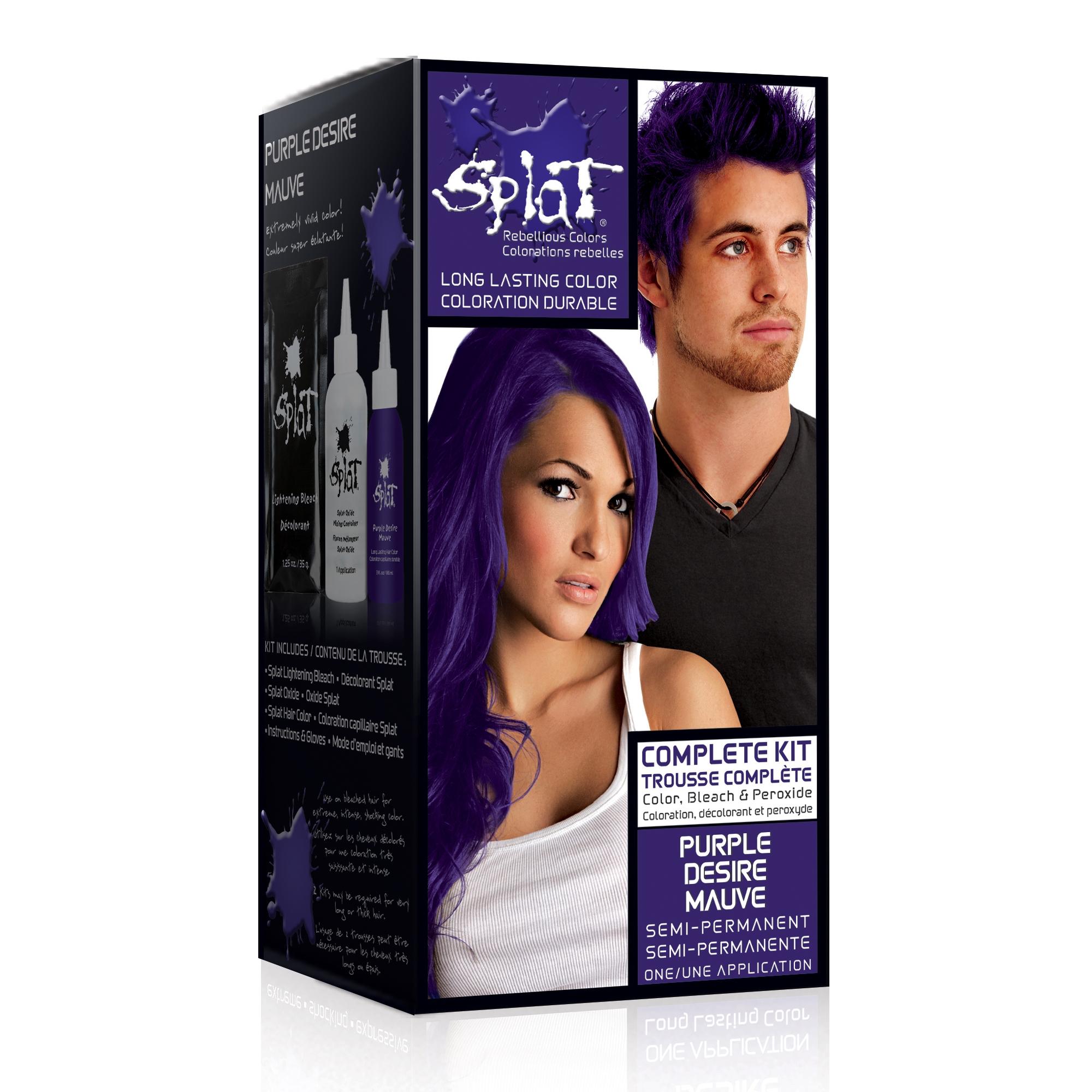 Pleasing Splat Semi Permanent Bold Hair Color Kit Purple Desire Walmart Com Short Hairstyles Gunalazisus
