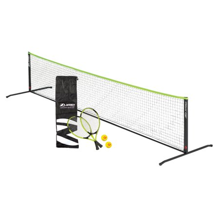 Portable Tennis Nets (Zume Games Portable, Instant Tennis Set Includes Two Rackets, Two Balls, Net, and Carrying)