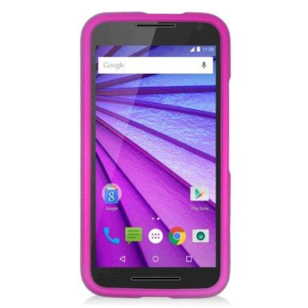check out 0e114 ed10b Insten Hard Rubber Cover Case For Motorola Moto G(3rd Gen) - Hot Pink