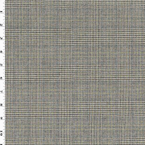 Black/Brown/Ivory Wool Glen Plaid Suiting, Fabric By the
