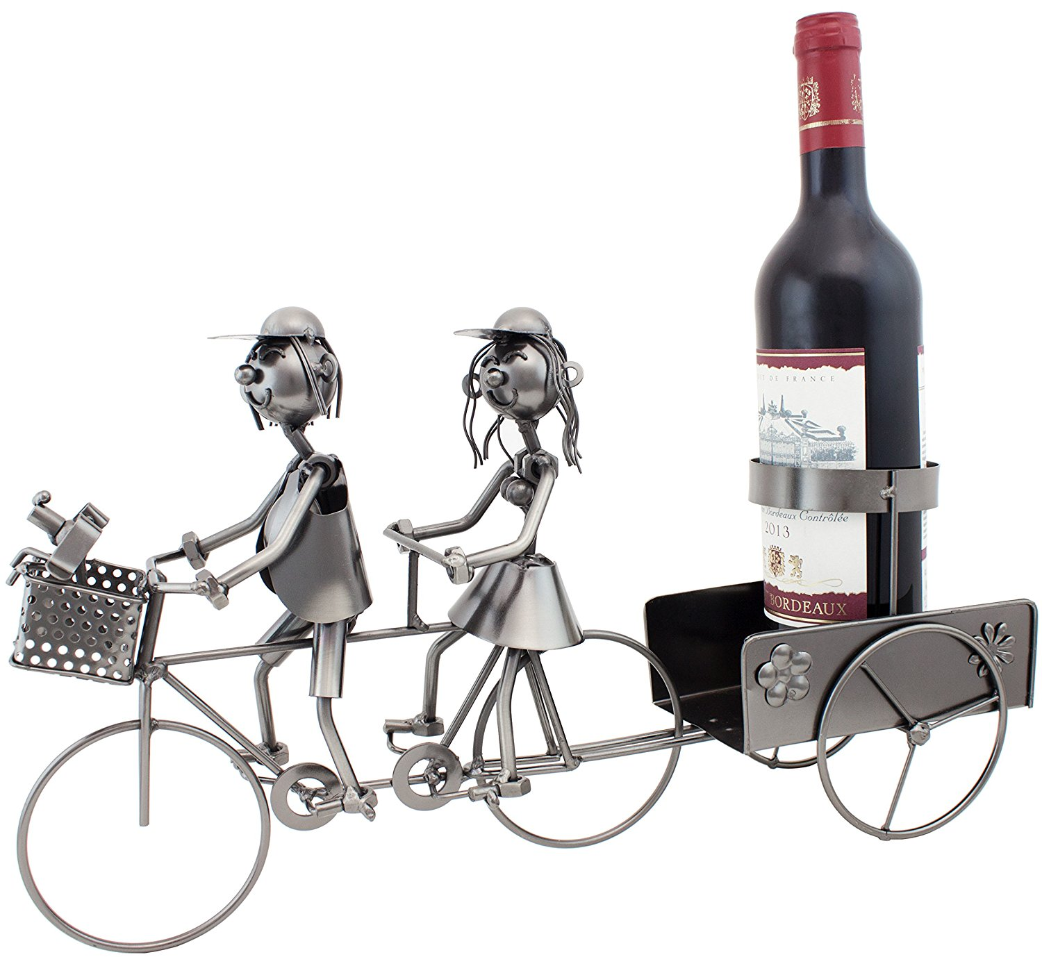 "BRUBAKER Bottle Holder ""Couple on Tandem Bicycle"" Metal Sculpture"