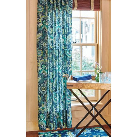 84 Long Floral Lined Curtain In Teal Turquoise Blue And Chartreuse Green Graphic Print
