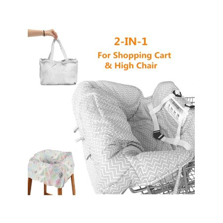 Portable High Chair Cover - Portable Shopping Trolley Cart Seat Pad High Chair Cover Protector with Safety Harness for Toddler Baby Kids