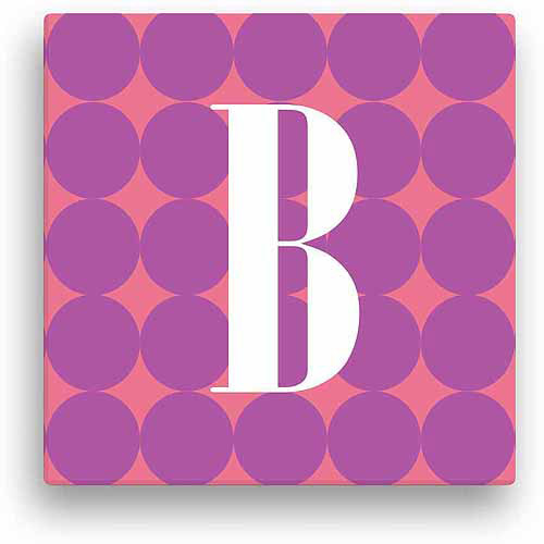 "Personalized Purple Polka Dots, 12"" x 12"" Canvas"
