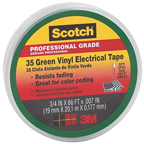 "3m 10851 Scotch 35 Vinyl Electrical Color Coding Tape, 3/4"" X 66ft, Green"