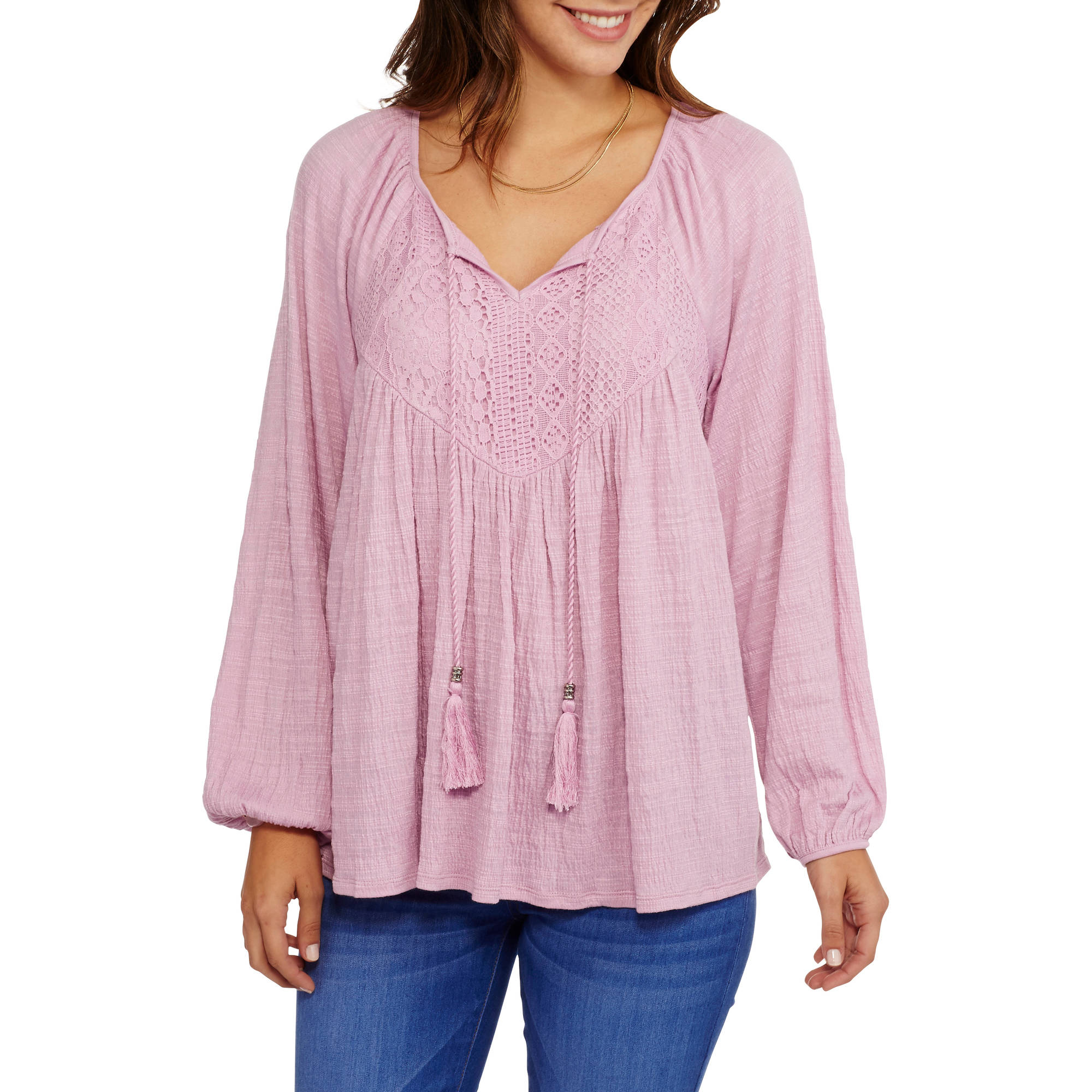 Faded Glory Women's Long Sleeve Peasant Top with Front Tassels and Feminine Lace Detail