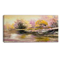 River's Farewell to Autumn Landscape Painting Print on Wrapped Canvas