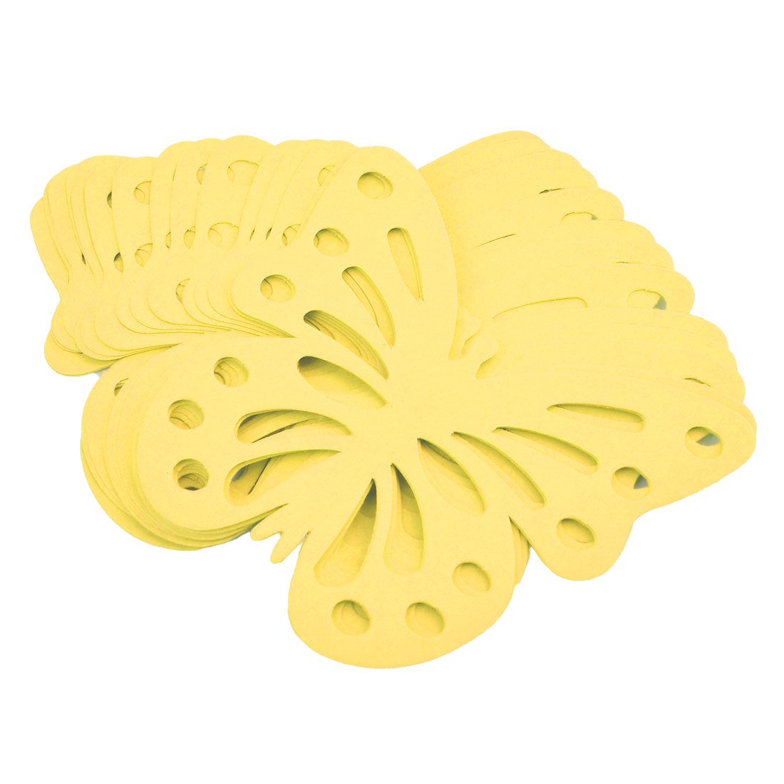 Paper Butterfly Design Self-adhesive 3D Wall Decorative Sticker Yellow 24pcs