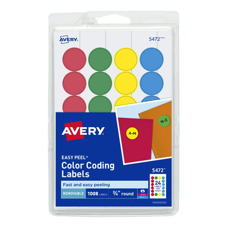 Gris Labels (Avery Removable Print or Write Color Coding Labels, Round, 0.75 Inches, Pack of 1008 (5472) )