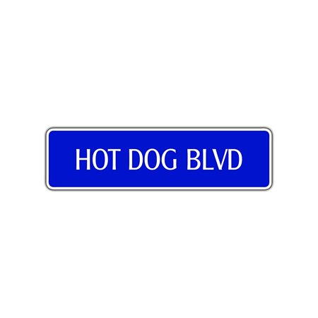 Hot Dog Boulevard Novelty Sign Street Food Eat Weiner Franks Foodie Lover Decor 4x13.5