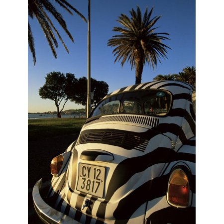 Back of a Beetle Car Painted in Zebra Stripes, Cape Town, South Africa, Africa Print Wall Art By Yadid Levy