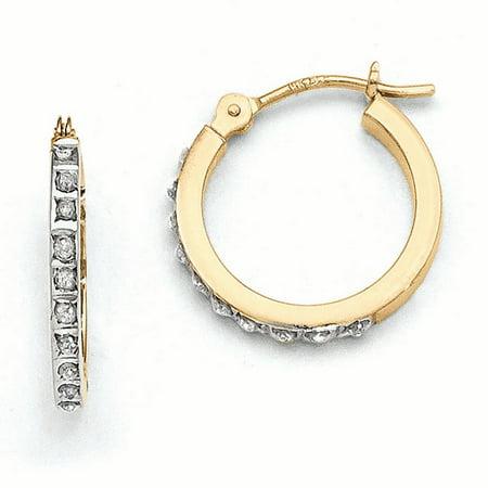 14k Diamond Fascination Small Hinged Leverback Hoop Earrings
