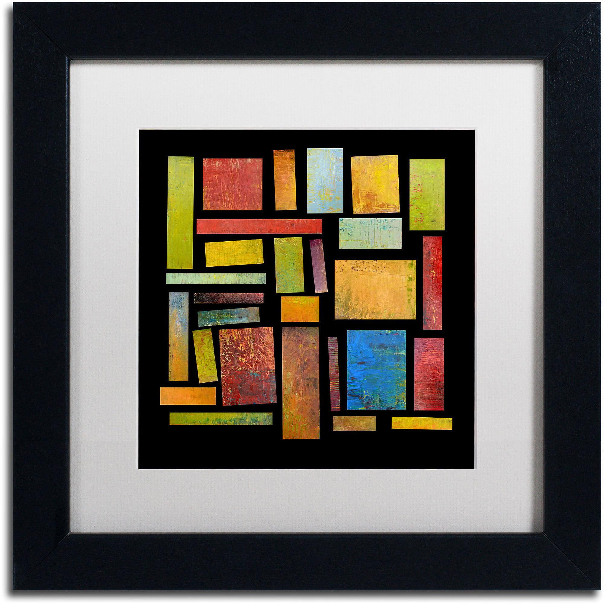 "Trademark Fine Art ""Building Blocks Three"" Canvas Art by Michelle Calkins, White Matte, Black Frame"