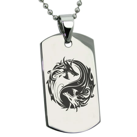 Stainless Steel Tribal Dragon Yin Yang Engraved Dog Tag Pendant Necklace ()