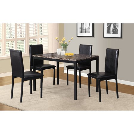 Marble Top Solid Wood (Roundhill Furniture 5 Piece Citico Metal Dinette Set with Laminated Faux Marble Top, Black )