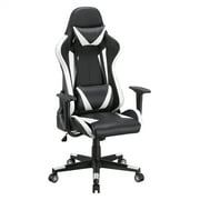 SmileMart Executive Adjustable High Back Faux Leather Swivel Gaming Chair, Black/White