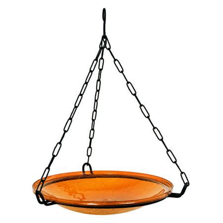 ACHLA Designs Hanging Crackle Glass Birdbath Bowl - Mandarin