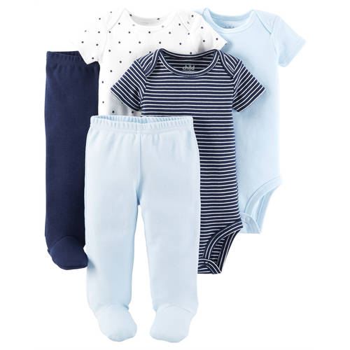 Child Of Mine By Carter's Newborn Baby Boy Bodysuits & Footed Pants, 5 Pc Set