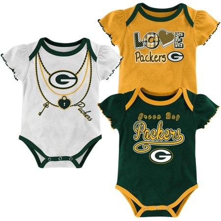 NFL, Team: PACKERS ,NB/INF 3 Pack Girl Creepers, Team Color/Grey/Alternate Team Color](Packers Colors)