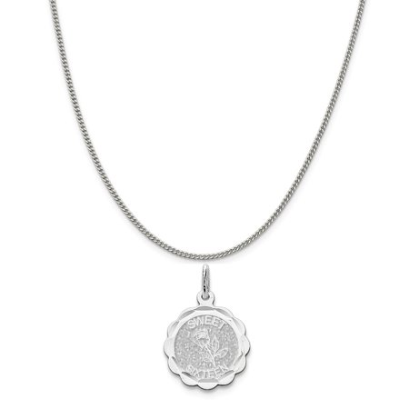 Disco Chain (Sterling Silver Sweet Sixteen Disc Charm on a Sterling Silver Curb Chain Necklace, 16