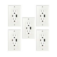 GREENCYCLE 5PK Ultra High Speed 5.8A USB Type C/A Dual USB Charging Ports 15A Tamper Resistant Receptacle White Duplex Outlets Wall Plates Socket Compatible with iPhone Samsung Smartphones UL Listed