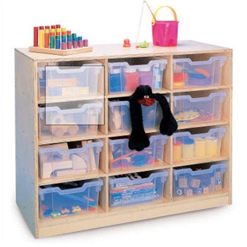 12 Gratnell Clear Tray Storage Cabinet in Maple Finish