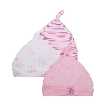 Little Star Organic Newborn Baby Girl Caps, 3-pack