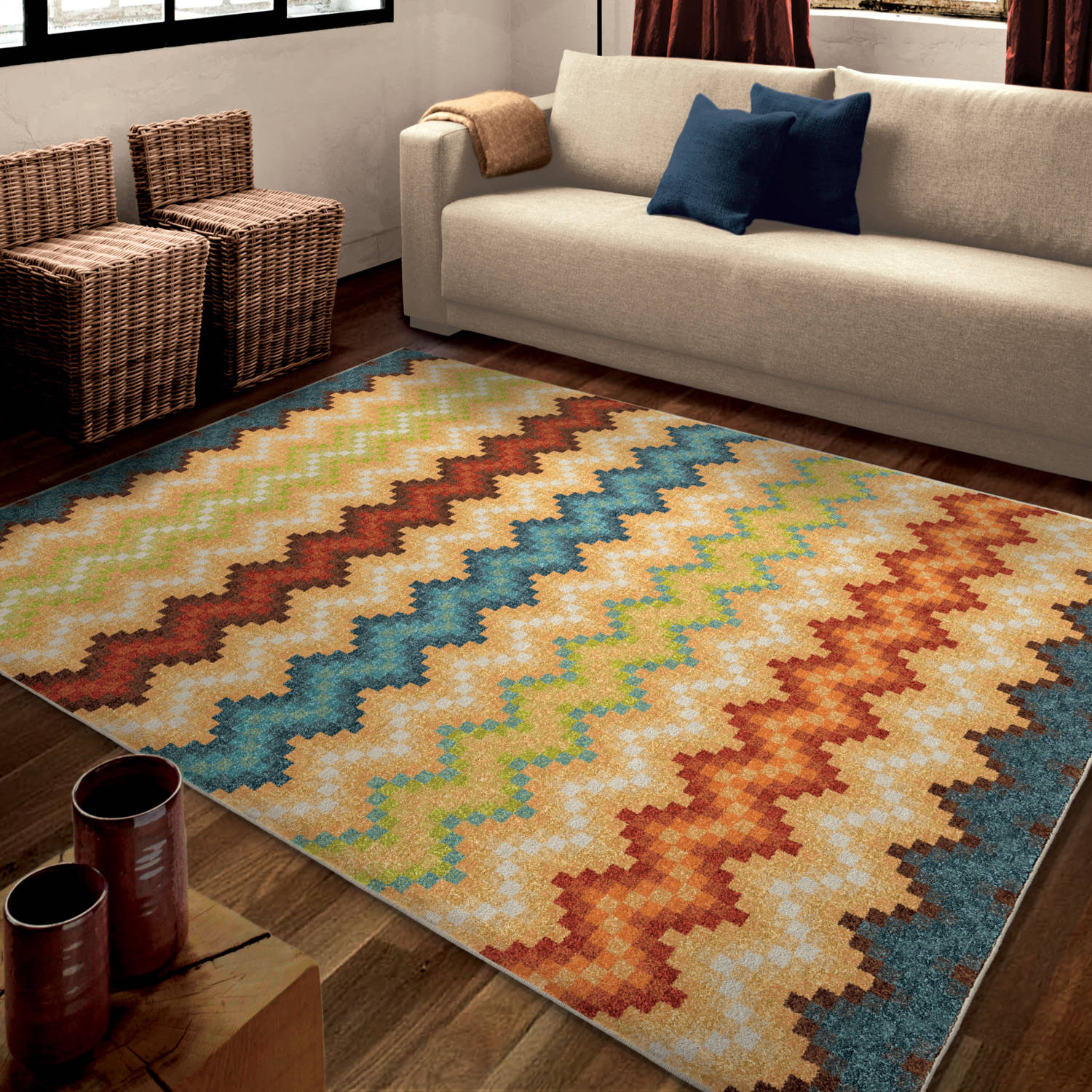 Orian Rugs Bright Color Chevron Prism Break Multi Area Rug