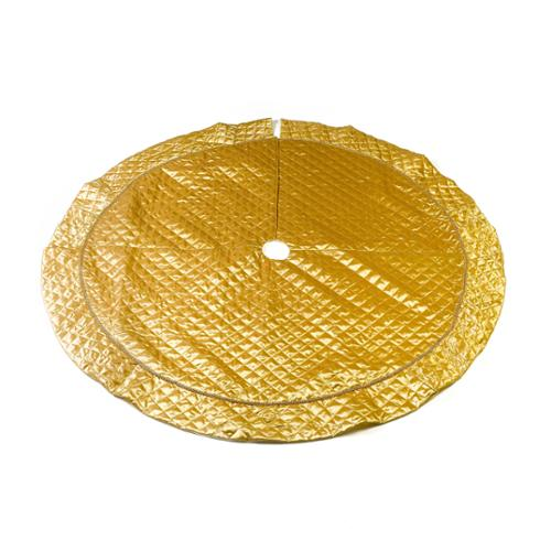 """56"""" Quilted Satin Gold Christmas Tree Skirt, Gold with Sequin Braid"""