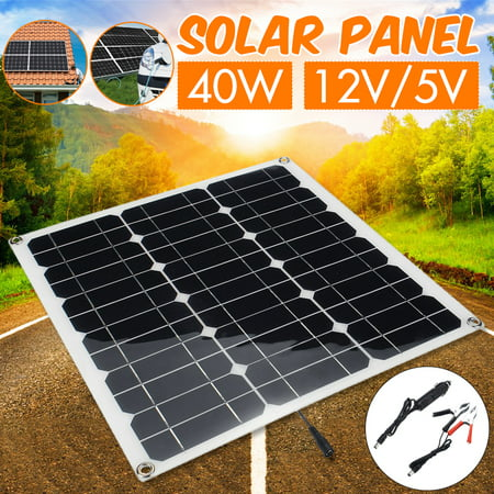 Flexible Semi Solar Panel 15W 20W 30W 40W 12V/5V Portable Controller Controlle Polysilicon /Monocrystalline Silicon Off Grid Kit Waterproof For Car Battery Phone RV Boat (Crystalline Silicon Solar Panel)