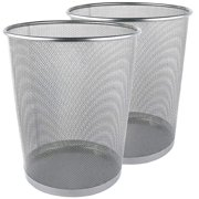 Greenco Mesh Wastebasket Trash Can, 6 Gallon, Silver, 2 Pack